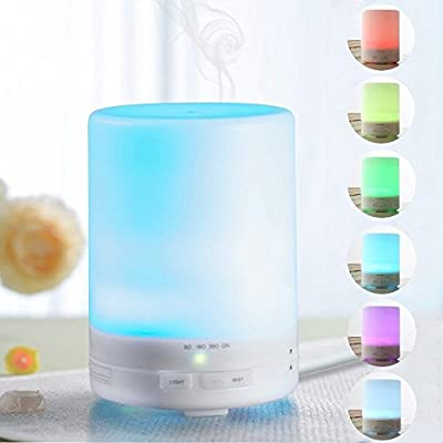 JGmax 300ml Aromatherapy Essential Oil Diffuser, Coll Mist Ultrasonic Aroma Humidifier for Bedroom Study Yoga Spa Office Hotel, Ionizer with 4 Timer Settings & 7 Color Changing Lights