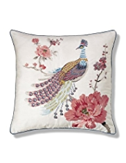 Exotic Embroidered Bird Cushion