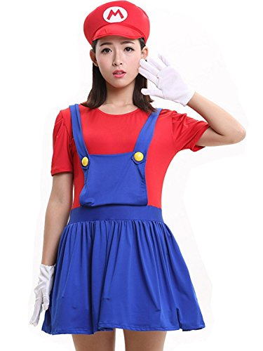McDonalnd Fascinating Woman's Super Mario Brothers Deluxe Luigi Skirt Version Adult Costume 5PC Set