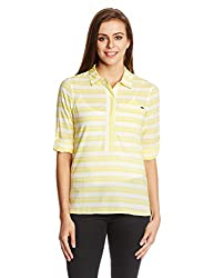 Elle Women's Body Blouse Top (EETU0020_Blazing Yellow_Medium)