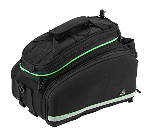 Layopo Roswheel Bicycle Rear Seat Trunk Bag Travel Handbag Pannier Bags With Rain Cover,Black And Green With Layopo'S Carabiner front-86893