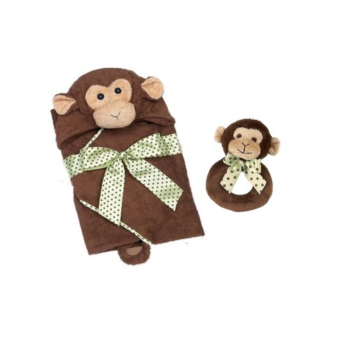 Bearington Lil Giggles Ring Rattle and Hooded Towel - 1