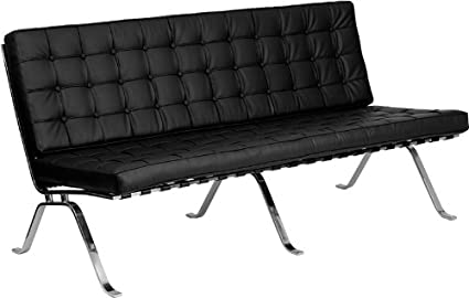HERCULES Black Leather Sofa Curved Legs