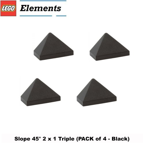 Lego Parts: Slope 45° 2 x 1 Triple (PACK of 4 - Black) - 1