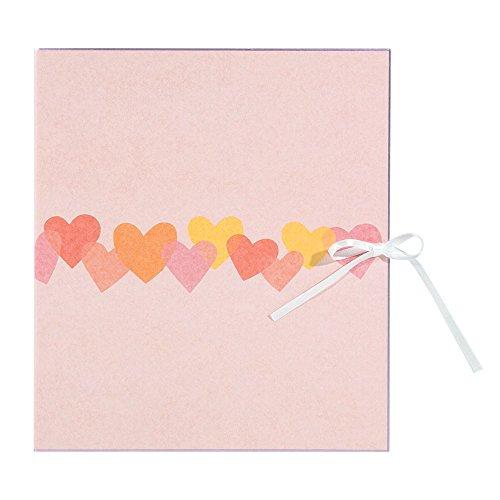ミドリ カラー色紙 二つ折り リボン ハート柄