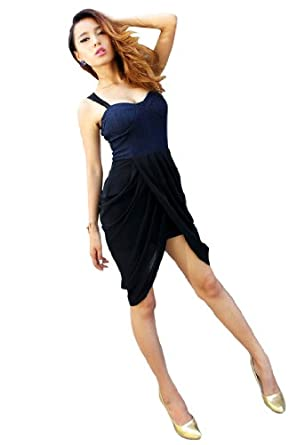 Krazy Sexy Low Cut Lace See Through Back Punk Denim Club Cocktail Wrap Tulip Dress US Size 0-2 4-6 6-8