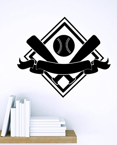 Design with Vinyl Zzz 837 2 Decor Item Baseball Diamond with Bats Sports Design Boys Kids Bedroom Wall Sticker Decal, 16-Inch x 16-Inch, Black