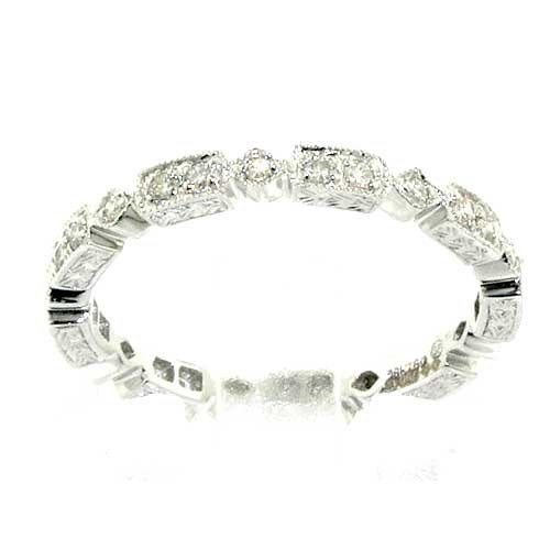 18ct White Gold 0.30ct Diamond Full Eternity Ring - Size N