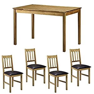 Coxmoor Dining Room Set   Dinner Table and Chairs Set   One Oak Table   4 Oak Chairs   Faux Leather Padding       review and more information