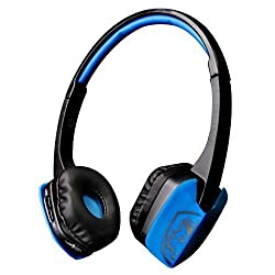 Sades D201 Bluetooth 4.1 Stereo Earpiece Headset Gaming Headphones with Mic on Ear for PC Laptop iPad iPhone Samsung and Other Smart Phones(BlackBlue)