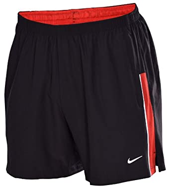 Nike Mens 5 Woven Running Shorts-Black Red by Nike