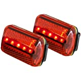 Personal Red Flashing Safety Light with Belt Clip (Set of 2) - up to 100 hours - Water Resistant