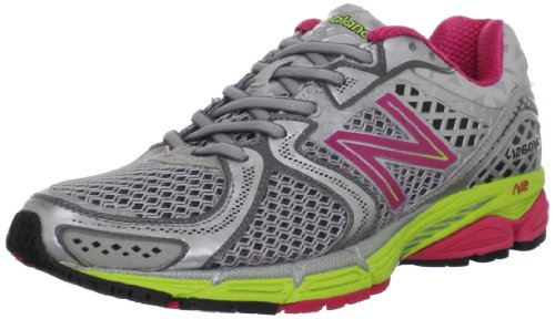 New Balance Women's W1260v2 Stability Running Shoe,Silver/Raspberry,5 D US