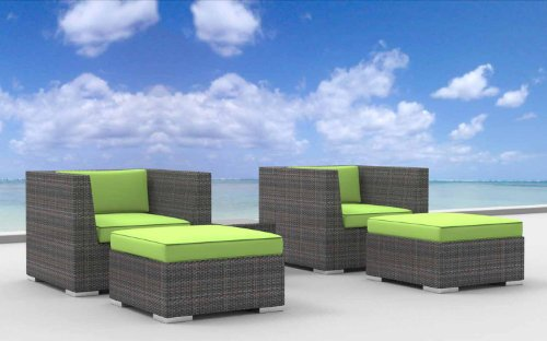 Urban Furnishing - Curacao 5d Ultra Modern Outdoor Backyard Wicker Patio Furniture Sofa Chair 5pc All-Weather Couch Set - lime green