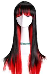 L-email Duplicity Collection Black&red Straight Cosplay Girl Wig Cb23-b