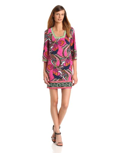 laundry BY SHELLI SEGAL Women's Printed 3/4 Sleeve Jersey Dress, Neo Pink, 6