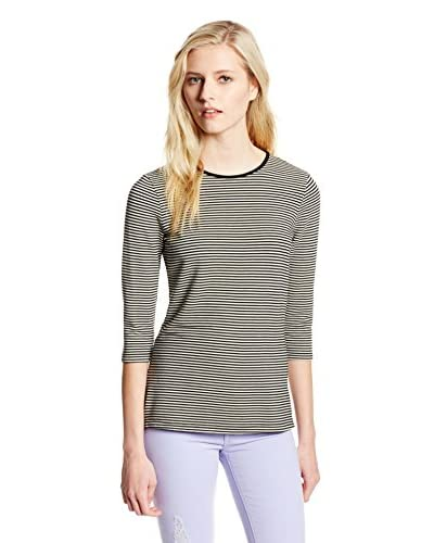 Three Dots Women's Crop Sleeve Top with Side Vents