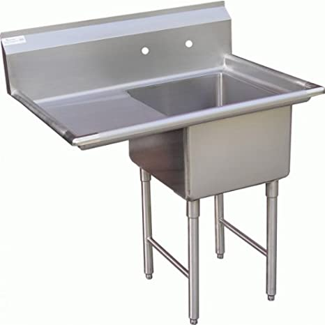 "Allstrong 1 Compartment Stainless Steel Sink 15"" x 15""w/ Left Drainboard NSF. SE15151L"