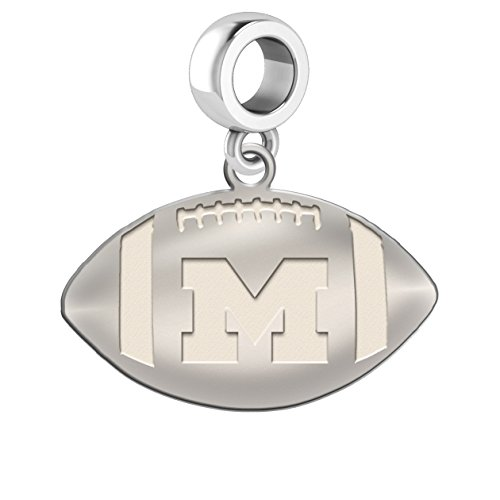 Michigan Wolverines Sterling Silver Football Cut Out Drop Charm Fits All European Style Charm Bracelets