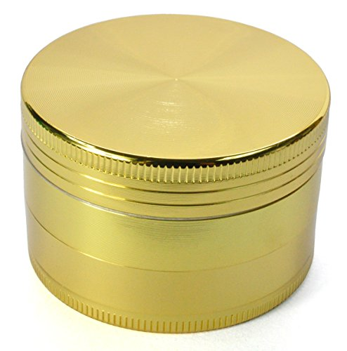 Golden Bell 4 Piece 2″ Tobacco Spice Herb Weed Grinder – Color:Gold