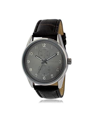 Geoffrey Beene Men's GB8065GUBK Black/Grey Leather Watch