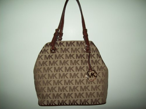 Michael Kors Mocha MK Signature Grab Bag Shoulder Tote Handbag Purse