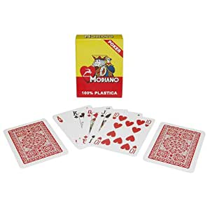 Trademark Poker Modiano 100% Plastic Poker Size Reg Index Single Deck Playing Cards (Red)