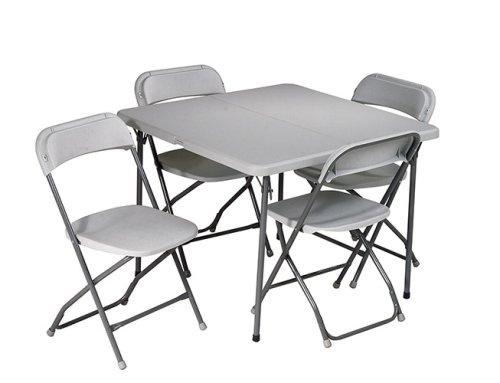 Work Smart Resin 5-Piece Folding Chair and Table Set, 4 Chairs and 3-Feet Square Table