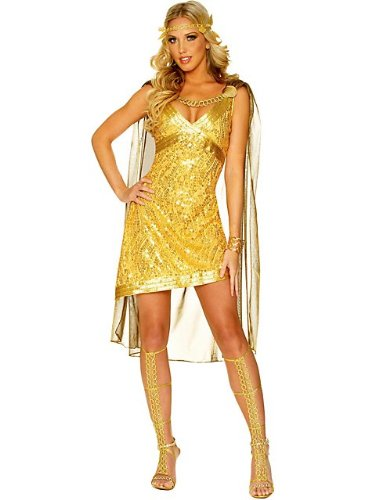 Franco Sexy Roman Goddess Greek Gold Toga Halloween Costume