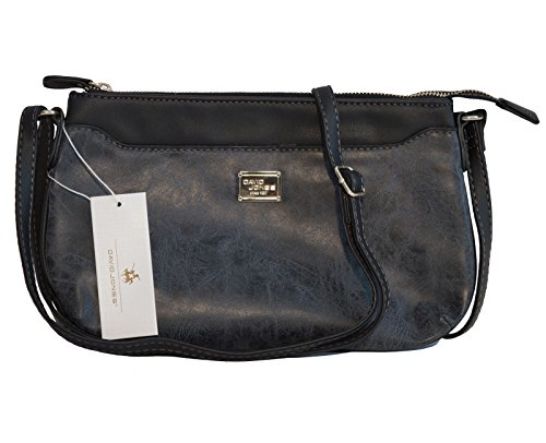 "Borsa tracolla ""crossbody"" David Jones in ecopelle effetto ""vintage"" - nera"