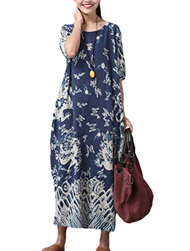 Minibee Women's Dragon Print Pattern Clothing Blue-half sleeve, One Size
