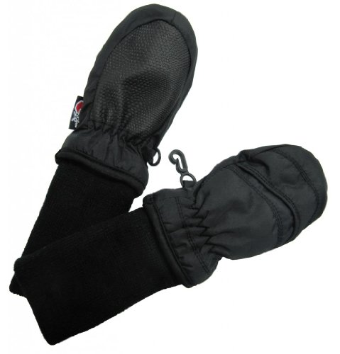 SnowStoppers Kid's Waterproof Stay On Winter Nylon Mittens Extra Small / 6-18 Months Black