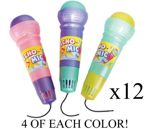 "(Lot Of 12) 10"" Echo Sound Microphone Kids Pretend Play Vibration Sound Music Party Toy"