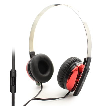 Alumina Over Head Stereo Hands Free Headset With Microphone ,Fashionable, Comfortable Ear Comfortable Ear Cushion, 3.5Mm Plug, Anti-Tangle Flat Wire - Red