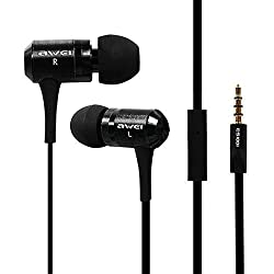 UNMCORE AWEI Super Bass 3.5MM In-Ear Earphone Earbuds Headset With Mic Microphone And Volume Control For All Mobile - Black