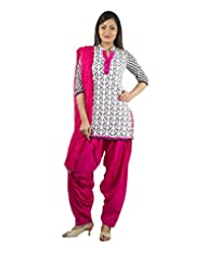 Rama Set Of Black & White Color Printed Kurti With Pink Color Duppatta & Patiala