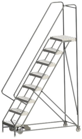 Tri-Arc WLAR108245 8-Step All-Welded Aluminum Rolling Industrial & Warehouse Ladder with Handrail, Grip Strut Tread