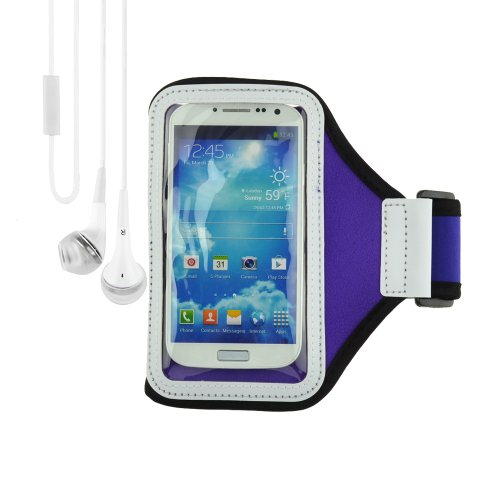 Purple Sports Armband Gym Band Case For Samsung Galaxy S4 S3 / Smartphone + Vangoddy Headphone With Mic ,White