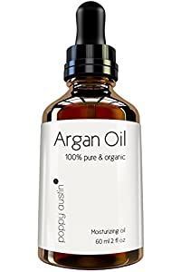 Poppy Austin Pure Organic Argan Oil for Hair and Skin, 2 Fluid Ounce