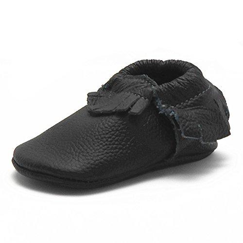 Sayoyo Baby Black Tassels Soft Sole Leather Infant Toddler Prewalker Shoes