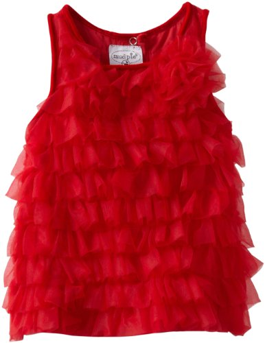 Mud Pie Baby-Girls Infant Red Chifffon Tiered Party Dress, Red, 12-18 Months