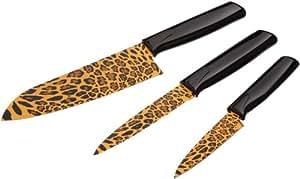 KUHN RIKON 23536 Messer Colori Safari Küchenmesser-Set Leopard bestehend aus Gemüsemesser 19,5 cm / Küchenmesser gezackt 23,8 cm und Kochmesser 28,7 cm Edelstahl antihaftbeschichtet