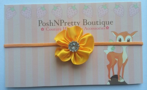 1.25 Inches Mini Cluster Satin Flower Baby Poshnpretty Headband - Yellow Gold