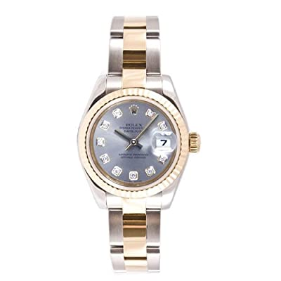 Rolex Ladys 179173 Datejust Steel & 18k Gold, Oyster Band, Fluted Bezel & Silver Diamond Dial