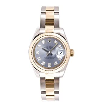Rolex Ladys New Style Heavy Band Stainless Steel & 18K Gold Datejust Model 179173 Oyster Band Fluted Bezel Silver Diamond Dial