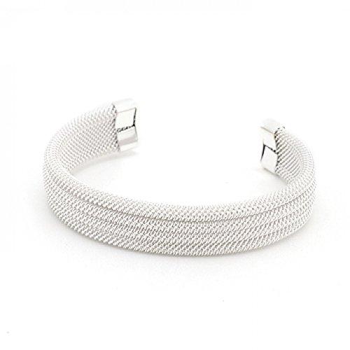 Linear Mesh Cuff Bracelet Polished Into A Lustrous Silvertone Finish