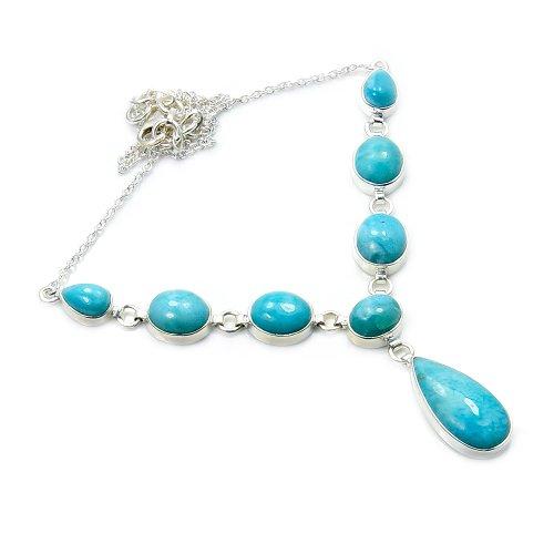 'Princess Of The Sea' Sterling Silver Genuine Dominican Larimar Y-Necklace