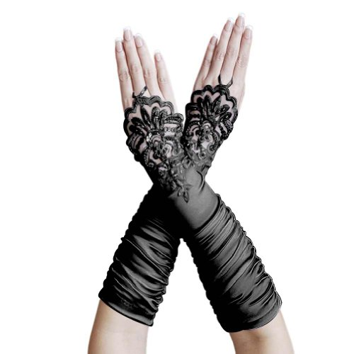 ZaZa Bridal Gathered Satin Fingerless Gloves w/ Floral Embroidery Lace & Sequins-Black