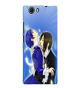 Fuson Love Couple Back Case Cover for MICROMAX CANVAS NITRO 2 E311 - D3834
