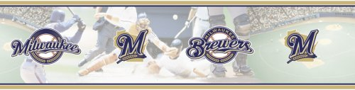 Blue Mountain Wallcoverings 5815417 Milwaukee Brewers Mlb Prepasted Wall Border, 6-Inch By 15-Foot